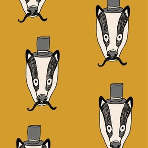 badger man // cute badgers character kids mustache top hat fabric mustard