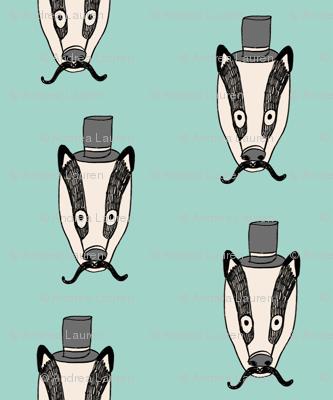 badger man // cute badgers character kids mustache top hat fabric mint