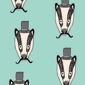 badger man // cute badgers character kids mustache top hat fabric mint