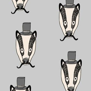 badger man // cute badgers character kids mustache top hat fabric grey