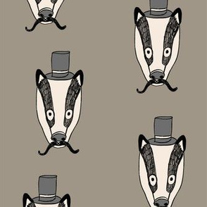 badger man // cute badgers character kids mustache top hat fabric grey green