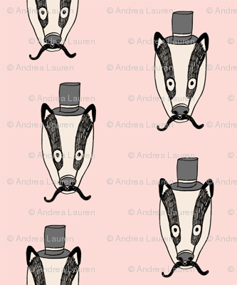 badger man // cute badgers character kids mustache top hat fabric pink
