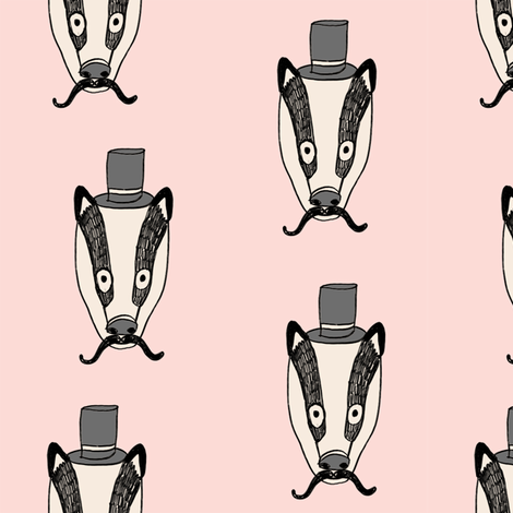 badger man // cute badgers character kids mustache top hat fabric pink fabric by andrea_lauren on Spoonflower - custom fabric
