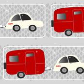 red vintage camper