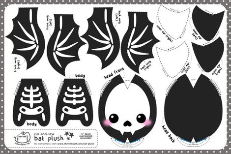 Cut & Sew Bat Plush Skeleton fabric by sewdesune on Spoonflower - custom fabric