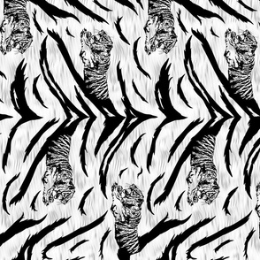 Tribal Tiger stripes print - vertical faux fur white medium