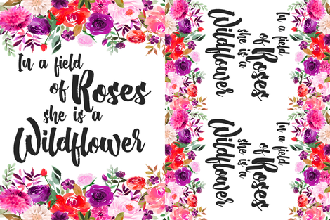 BRIGHT In a field of roses she is a wildflower //  one blanket two loveys  // 36x54 fabric by greenmountainfabric on Spoonflower - custom fabric