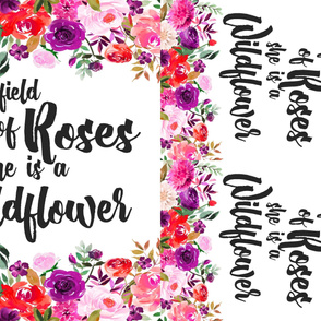 BRIGHT In a field of roses she is a wildflower //  one blanket two loveys  // 36x54
