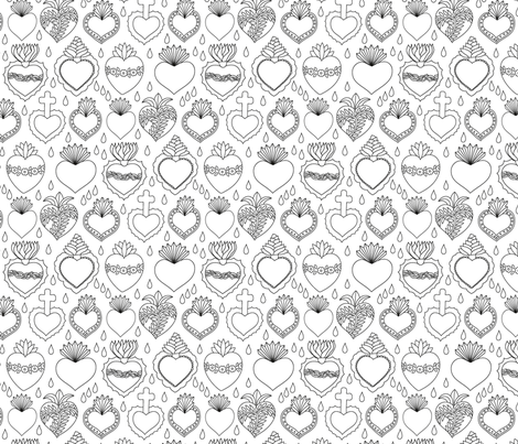 Sacred hearts fabric by runlenarun on Spoonflower - custom fabric