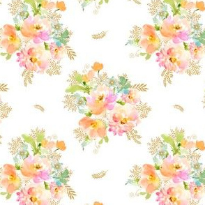 "4"" GOLD PEACH & MINT GREEN FLORALS / MIX & MATCH"