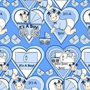 Baby Hearts Bunting Boys Fabric 1