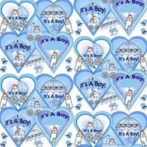 Baby Hearts Bunting Boys Fabric 2