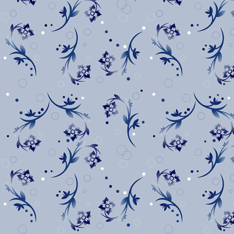 Navy Over All Floral on Pale Blue fabric by gingezel on Spoonflower - custom fabric