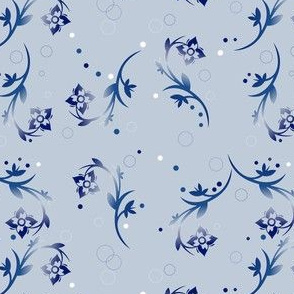 Navy Over All Floral on Pale Blue