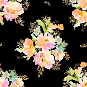 """8"""" GOLD PEACH AND MINT FLORALS / black"""