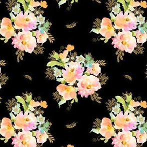"""4"""" GOLD PEACH AND MINT FLORALS / Black"""