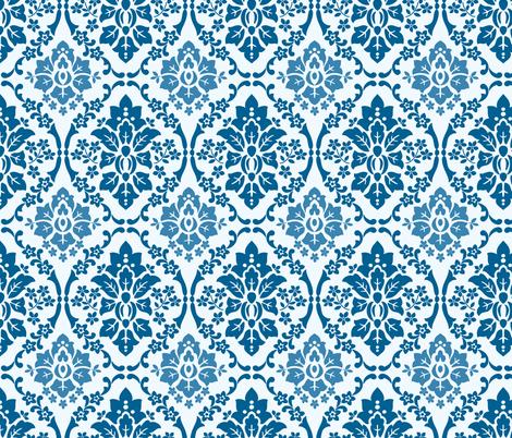 Indigo Damask fabric by barbarapixton on Spoonflower - custom fabric