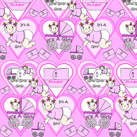 Baby Hearts Bunting Girls Fabric 1 fabric by lworiginals on Spoonflower - custom fabric