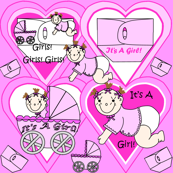 Baby Hearts Bunting Girls Fabric 1