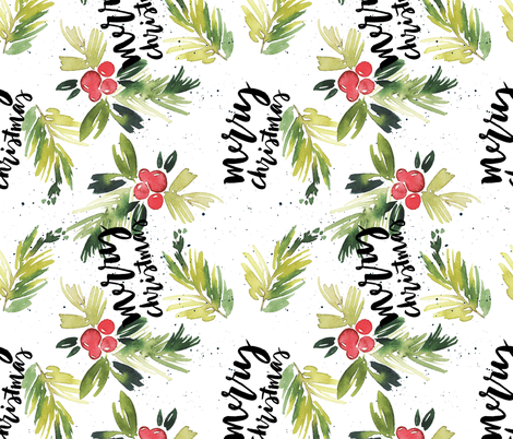 """10.5"""" Rotated // Merry Christmas Red Berry Holly fabric by hipkiddesigns on Spoonflower - custom fabric"""