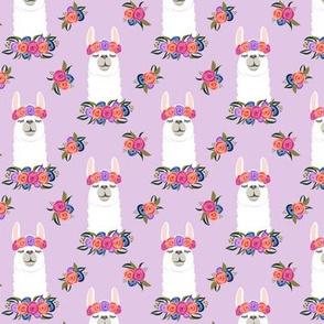 (small scale) floral llama - vintage on purple