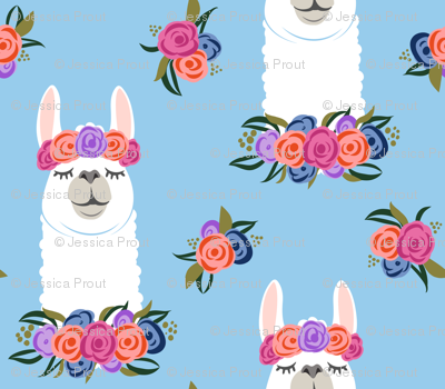 (small scale) floral llama - vintage on blue