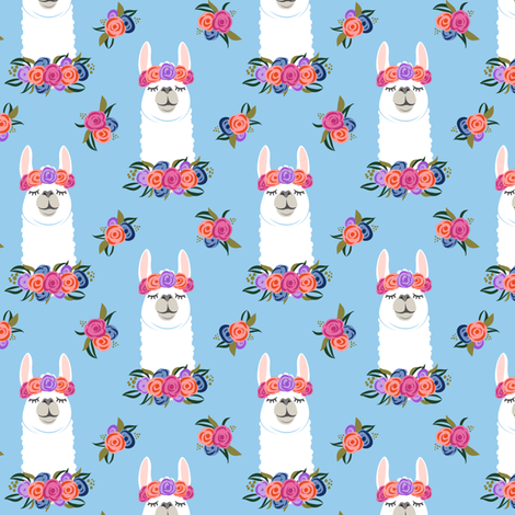 (small scale) floral llama - vintage on blue fabric by littlearrowdesign on Spoonflower - custom fabric