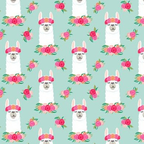 (small scale) floral llama - spring colors on dark mint