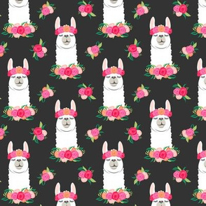 (small scale)  floral llama - spring colors on grey