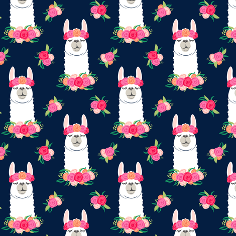 (small scale) floral llama - spring colors on navy fabric by littlearrowdesign on Spoonflower - custom fabric