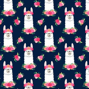 (small scale) floral llama - spring colors on navy