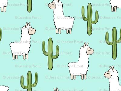 (small scale) llama w/ cactus - light teal