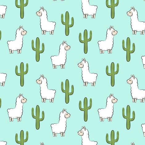 (small scale) llama w/ cactus - light teal fabric by littlearrowdesign on Spoonflower - custom fabric
