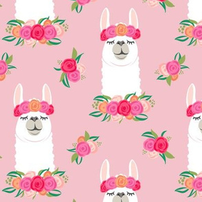 floral llama - spring colors on pink