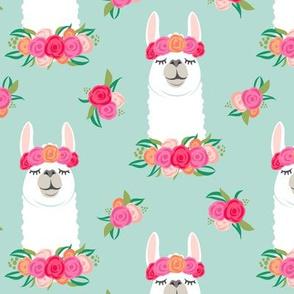 floral llama - spring colors on dark mint