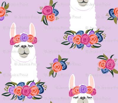 floral llama - vintage on purple