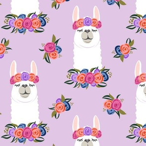 floral llama - vintage on purple