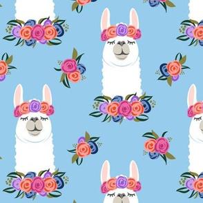 floral llama - vintage on blue