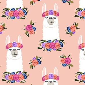 floral llama - vintage on peach