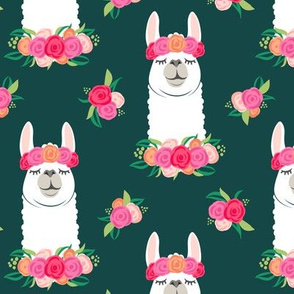floral llama - spring colors on deep green