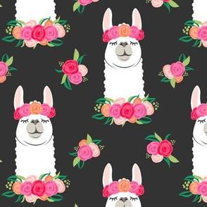 floral llama - spring colors on grey