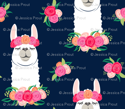 floral llama - spring colors on navy