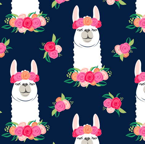 floral llama - spring colors on navy fabric by littlearrowdesign on Spoonflower - custom fabric