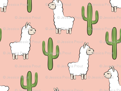 (small scale) llama w/ cactus on salmon peach