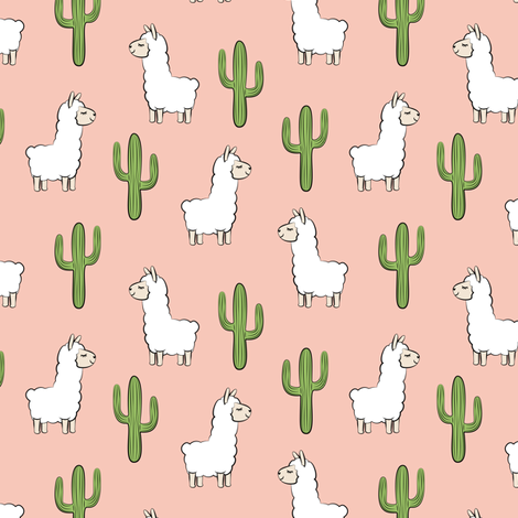 (small scale) llama w/ cactus on salmon peach fabric by littlearrowdesign on Spoonflower - custom fabric