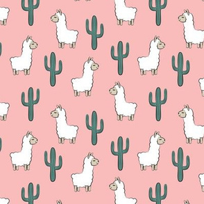 (small scale) llama w/ cactus on pink