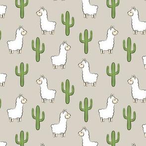 (small scale) llama w/ cactus - beige