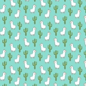 (micro scale) llama w/ cactus - teal