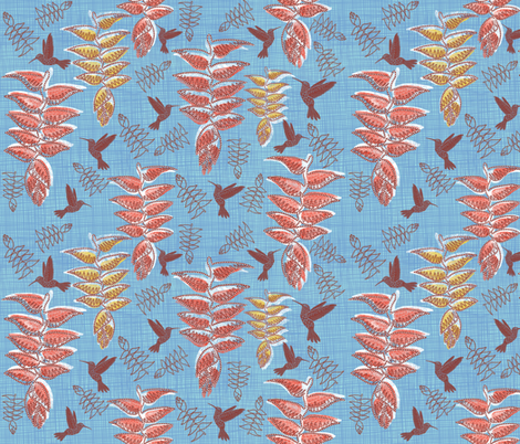 African heliconia paradise linen pantone little boy blue for Little boy fabric