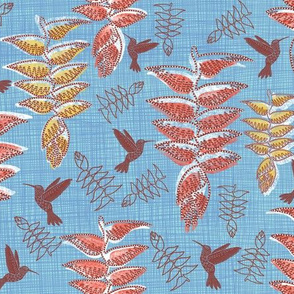 African Heliconia Paradise Linen (Pantone Little Boy Blue)